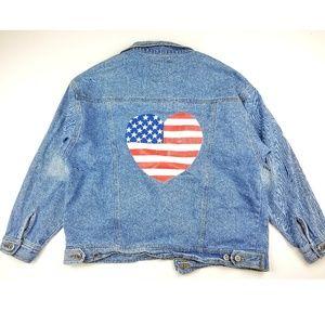 Vintage Denim Jean Jacket American Flag Prints